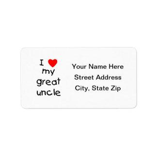 Amo a mi gran tío etiqueta de dirección