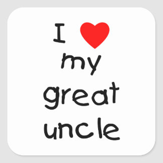 Amo a mi gran tío pegatina cuadrada