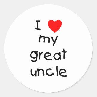 Amo a mi gran tío pegatina redonda