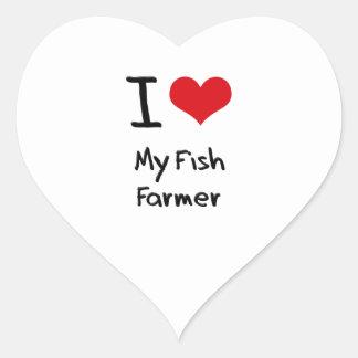Amo a mi granjero de los pescados pegatina de corazón