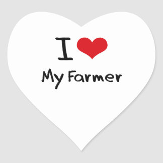 Amo a mi granjero calcomanías de corazones personalizadas