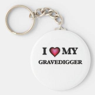 Amo a mi Gravedigger Llavero Redondo Tipo Pin