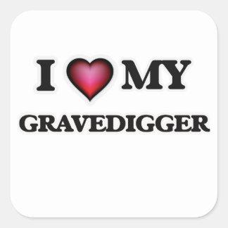 Amo a mi Gravedigger Pegatina Cuadrada