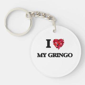 Amo a mi Gringo Llavero Redondo Acrílico A Una Cara