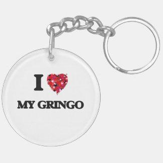 Amo a mi Gringo Llavero Redondo Acrílico A Doble Cara