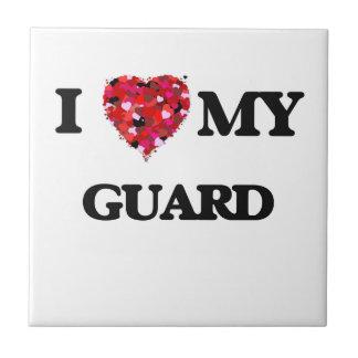 Amo a mi guardia azulejo cuadrado pequeño