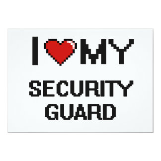 Amo a mi guardia de seguridad invitación 12,7 x 17,8 cm