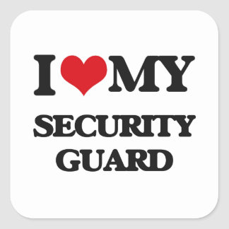 Amo a mi guardia de seguridad calcomania cuadradas