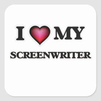 Amo a mi guionista pegatina cuadrada