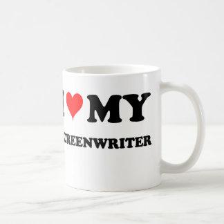 Amo a mi guionista taza básica blanca