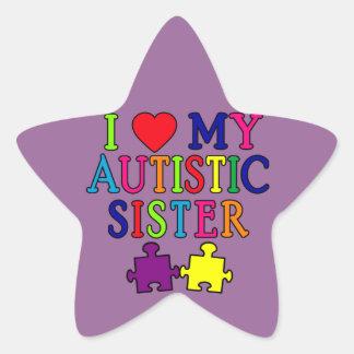 Amo a mi hermana autística pegatina en forma de estrella