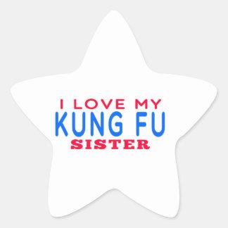 Amo a mi hermana de Kung Fu Calcomanía Cuadrada