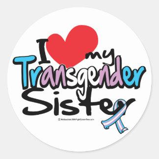Amo a mi hermana del transexual pegatinas redondas