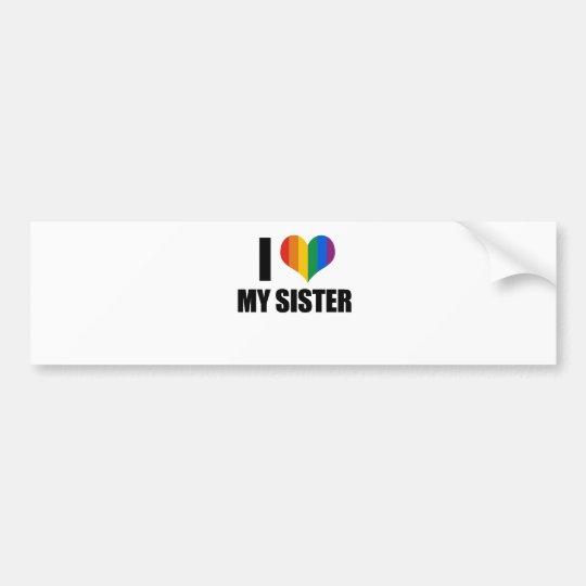 Amo a mi hermana gay pegatina para auto