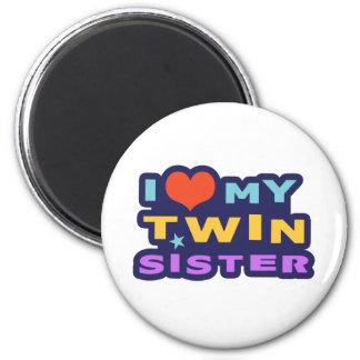 Amo a mi hermana gemela imán de frigorífico