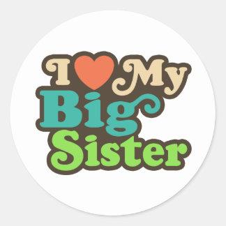 Amo a mi hermana grande pegatina redonda