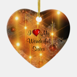 Amo a mi hermana maravillosa adorno navideño de cerámica en forma de corazón