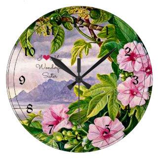 Amo a mi hermana maravillosa - paisaje tropical reloj redondo grande