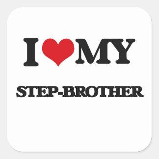Amo a mi hermanastro pegatina cuadrada