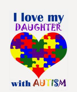 Amo a mi hija con la camiseta del autismo