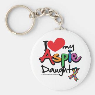Amo a mi hija de Aspie Llavero Redondo Tipo Pin