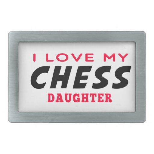 Amo a mi hija del ajedrez hebillas cinturon rectangulares