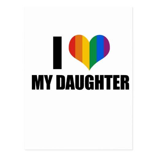 Amo a mi hija gay tarjeta postal