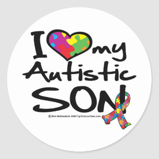 Amo a mi hijo autístico pegatina redonda