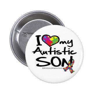 Amo a mi hijo autístico pin redondo de 2 pulgadas