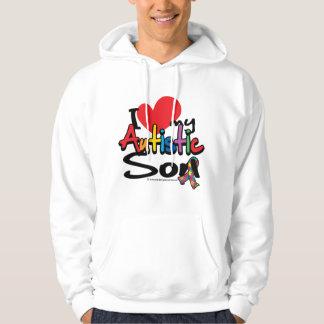 Amo a mi hijo autístico sudadera con capucha