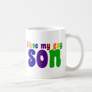 Amo a mi hijo gay taza básica blanca