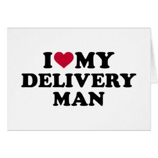 Amo a mi hombre de entrega tarjeta de felicitación