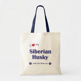 Amo a mi husky siberiano el perro femenino bolsas lienzo