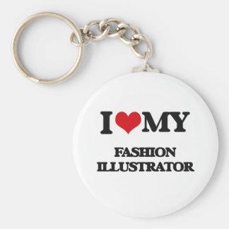 Amo a mi ilustrador de la moda llaveros