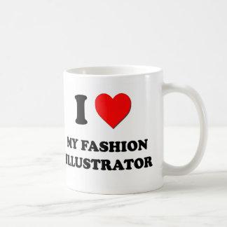 Amo a mi ilustrador de la moda taza de café