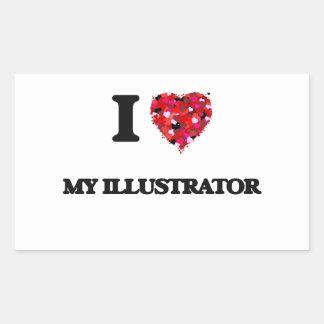Amo a mi ilustrador pegatina rectangular