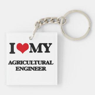 Amo a mi ingeniero agrícola llavero cuadrado acrílico a doble cara