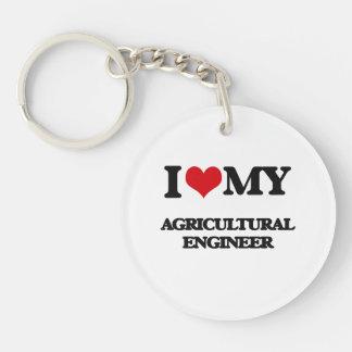 Amo a mi ingeniero agrícola llavero redondo acrílico a una cara