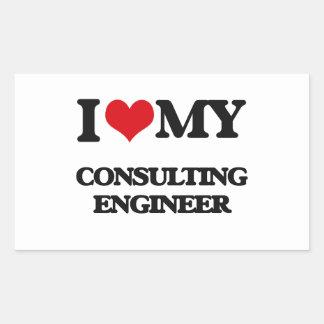 Amo a mi ingeniero asesor rectangular pegatina