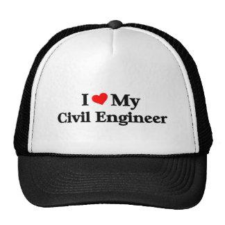Amo a mi ingeniero civil gorros bordados