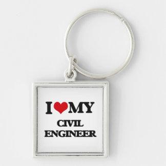 Amo a mi ingeniero civil llavero cuadrado plateado