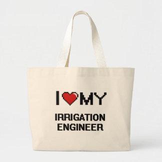 Amo a mi ingeniero de la irrigación bolsa tela grande