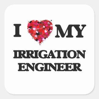 Amo a mi ingeniero de la irrigación pegatina cuadrada