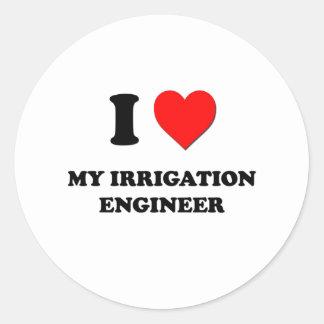 Amo a mi ingeniero de la irrigación pegatina redonda