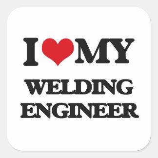 Amo a mi ingeniero de la soldadura colcomania cuadrada