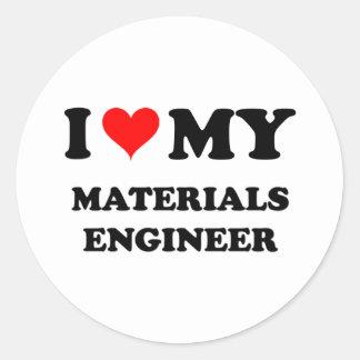 Amo a mi ingeniero de los materiales pegatina redonda