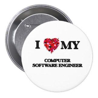 Amo a mi ingeniero de los programas informáticos chapa redonda 7 cm