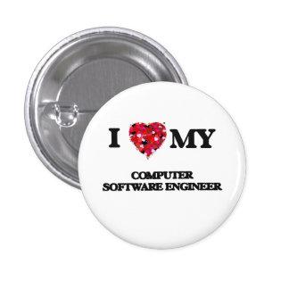 Amo a mi ingeniero de los programas informáticos chapa redonda 2,5 cm