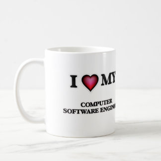 Amo a mi ingeniero de los programas informáticos taza clásica