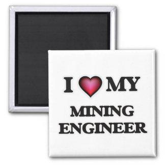 Amo a mi ingeniero de minas imán cuadrado